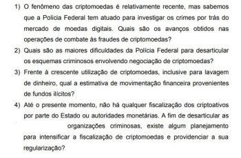 Spørgsmål, der vil blive sendt til justitsministeren på anmodning af en stedfortræder om PF's rolle i svig med billedet af Bitcoin