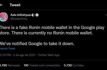 Axie Infinitys Twitter -profil advarede mod falsk Ronin i Google Play