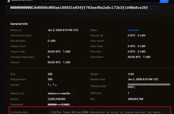 Besked gemt i genesisblokken, den første på Bitcoin -netværket i 2009