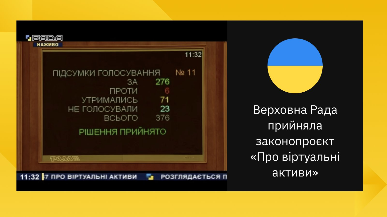 Det ukrainske parlaments afstemning om Bitcoin -lov vinder med overvældende flertal